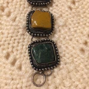 Natural polished  stone chunky bracelet